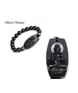 Natural Black Obsidian Carved Buddha Lucky Amulet Round Beads Bracelet - $9.99