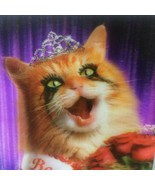 Framed Beauty Queen Kitty Cat Crown Roses Smeared Mascara 3D Picture 9 x... - $14.80