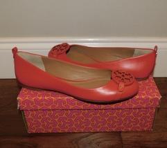 New Tory Burch Gabriel Exotic Red Leather Logo Ballet Flats Shoes Womens 9 Nib - $175.00