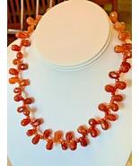 """Carnelian Faceted Necklace Teardrop Pear 12mm Sterling Silver 18"""" Orange... - $78.16"""