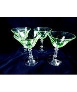Antique VTG Uranium Vaseline Champagne Cordials Goblets Crystal set of 4 - $84.15