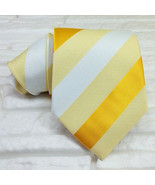 Mens tie striped yellow white 100% silk Made in Italy business weddings ... - $28.40