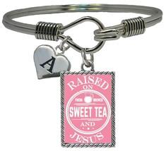 Custom Raised on Sweet Tea and Jesus Silver Cuff Bracelet Jewelry Choose Initial - $14.24