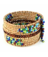 Bracelet Wide Cuff Wood & Seed Beads Hand Beaded Memory Wire Fashion Jew... - $8.91