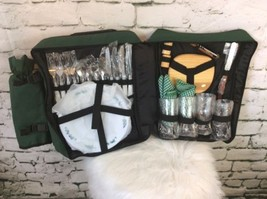 PICNIC at ASCOT Green GOURMET INSULATED WINE BACKPACK SET FOR 4 - €29,69 EUR