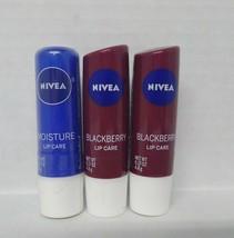 2 Nivea Blackberry + Nivea Moisture Lip Care 0.17 oz **SEALED** - $13.37