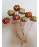 (8) Thanksgiving Fall Halloween Pumpkin Glitter Orange Gold PICKS Tree D... - $11.99