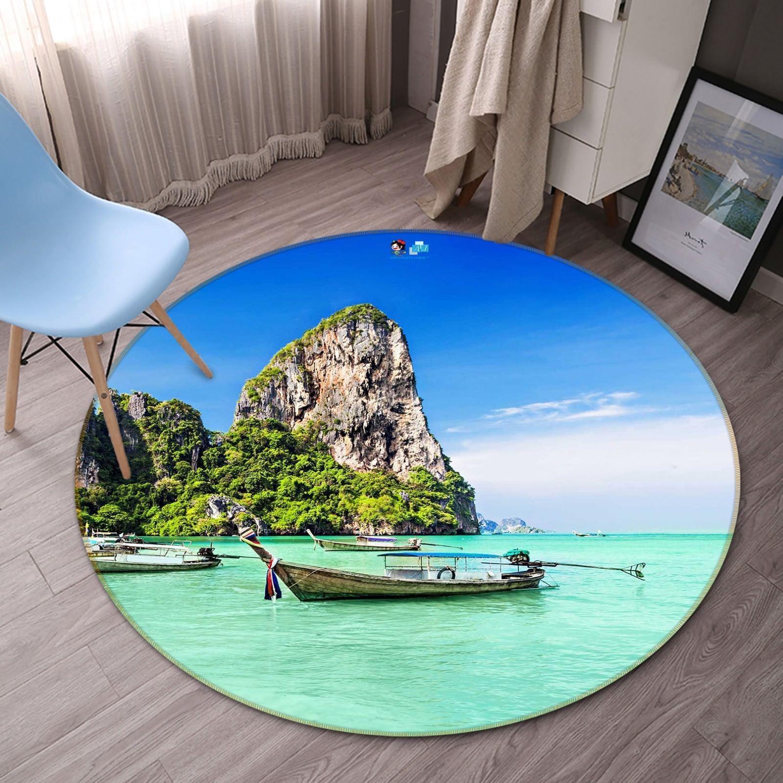 3D Sea Boats Hills 059 Non Slip Rug Mat Room Mat Round Quality Elegant Carpet AU