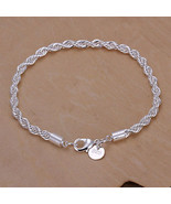 GORGEOUS TWISTED ROPE BRACELET    SILVER-PLATED    L@@K   ITEM #16 - $9.65