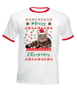 CAT MERRY CHRISTMAS  2 - NEW COTTON RED RINGER TSHIRT - $19.59