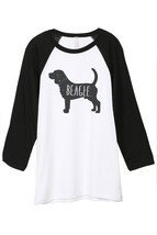 Thread Tank Beagle Dog Silhouette Unisex 3/4 Sleeves Baseball Raglan T-Shirt Tee - $24.99+