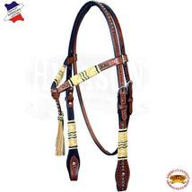 Western Horse Headstall Tack Bridle American Leather Braided Hilason U-B-HS - $59.39