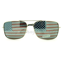 Patriotic Flag Lens Square Aviator Sunglasses USA American Flag - $9.85