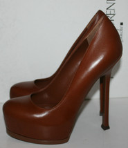 $795 NIB YSL Yves Saint Laurent Tribtoo 105 Pumps Leather Brown Shoes He... - $150.00