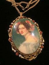 "Vintage 40s Painted Portrait ""cameo-style"" necklace/pin"
