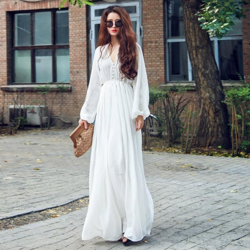 White Boho Empire Waist Women Chiffon Long Dress