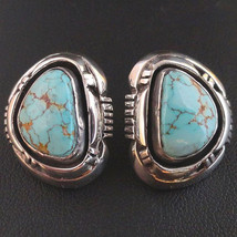 TURQUOISE MOUNTAIN Button Style Earrings Sterling Silver Posts Navajo R&... - $10.772,28 MXN