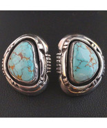 TURQUOISE MOUNTAIN Button Style Earrings Sterling Silver Posts Navajo R&... - $469.00