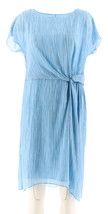 Halston Printed Dress Twist Front Blue 4 NEW A275438 - $39.58