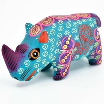 Handmade Alebrijes Oaxacan Wood Carved Painted Folk Art Rhino Rhinoceros Figure image 2