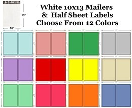 10x13 ( White ) Poly Mailers + Colored Half Sheet Self Adhesive Shipping... - $2.99+