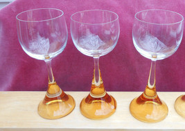 ROSENTHAL CLAIRON CRYSTAL CLARET WINE STEM GLASS GOBLETS 3 AMBER SIGNED ... - $63.94