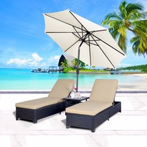Outdoor 4PC Patio Wicker Rattan Chaise Lounge Chairs with 9' Adjustable ... - $425.99
