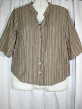 Lane Bryant Olive Beige Gold Metallic Striped Pintucks Tab Slv Shirt Top 14/16 - $2.84