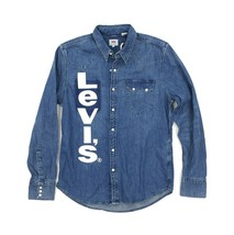 Levi's Unbasic Sawtooth Denim Western Shirt Size XL Blue White Big Logo - $39.99