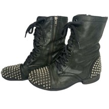 Steve Madden Tarnney Black Leather Studded Lace Up Combat Moto Boots Size 8 - $34.62