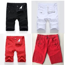 Men's Fashion Ripped And Normal 2 Patterns Short Jeans 3 Colors Skinny Casual Je - $35.70