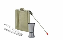 Stainless Steel Silver Bar Set of 4 Pieces, Bar Tools, Bar Accesories Se... - $91.17