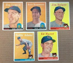 1958 Topps Baseball Card Lot of 5 Chicago Cubs / Senators VG/VG+ Conditi... - $5.99