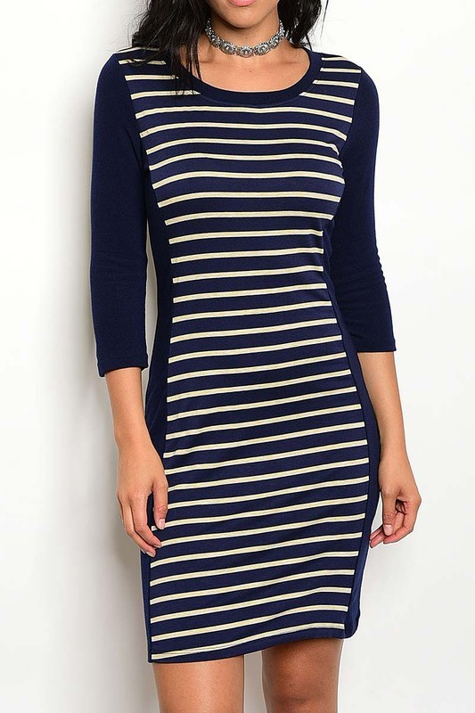 Navy Colorblock Dress, Midi Bodycon Dress, Navy Striped Dress, Colbert Clothing