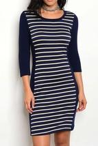 Navy Colorblock Dress, Midi Bodycon Dress, Navy Striped Dress, Colbert Clothing