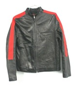 HUGO BOSS Mens M BLACK LEATHER MOTO JACKET  LAMB SKIN Red Trim Zippered ... - $343.04
