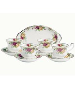 Royal Albert Old Country Roses 9 Piece Set Oval Tray 4 Cups 4 Saucers New - $82.90