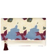 Rachel Pally Womens Floral Canvas Zip Tassel Folded Clutch Handbag Blue ... - $14.99