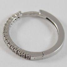 White Gold Earrings 750 18k circle, diameter 1.9 cm, Width 1 MM, Zirconia image 3