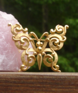 Vintage Crown Trifari© Ornate Scroll Butterfly Brooch, Gold - $145.00