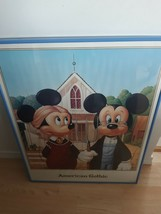 Vintage Disney American Gothic Mickey Mouse and Minnie Mouse Farmers Framed 1986 - $321.70