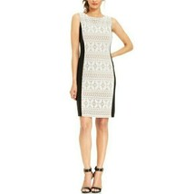 Anne Klein Navy ivory Contrast Crochet Lace Panel Dress 14 Sheath - $29.69