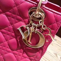 AUTH Christian Dior Lady Dior Medium Fuchsia Pink Cannage Lambskin Tote Bag  image 4