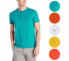 New Lacoste Men's Short Sleeve Henley Jersey Pima Cotton Regular Fit T-Shirt