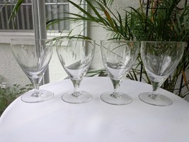 Set of 4 Cut Clear Crystal Wine Goblets - $27.72
