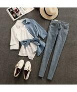 Women Summer Shirts Jeans Sets Striped Patchwork V-Neck Half Sleeve - $39.99