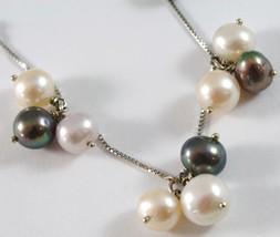 White Gold Bracelet 750 18k, Grapes, Pearls Peach, Lavender, White, Black image 2