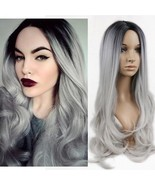 Grey Wig Fake Hair Cosplay Curly Wavy Silver Gray Synthetic Long Black W... - €31,21 EUR