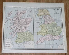 1890 ORIGINAL ANTIQUE MAP OF ENGLAND ROMAN PERIOD AND SINCE A.D. 1066 SC... - $7.92