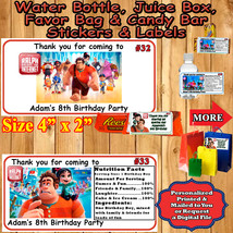 Ralph Breaks The Internet  Birthday Favor Stickers Labels 1 Sheet Personalized - $5.75